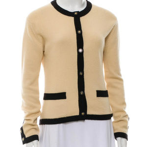 CHANEL Tan/Beige and Black Cashmere Cardigan M